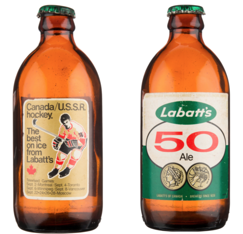 Labatt's 50 Ale Stubby Beer Bottle 1972 Canada/U.S.S.R. Hockey Promotion