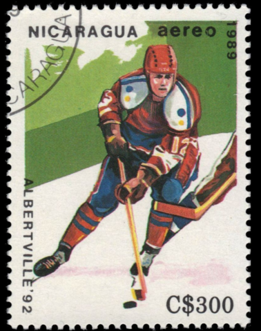 1992 Winter Olympics Ice Hockey Stamp from Nicaragua C1181