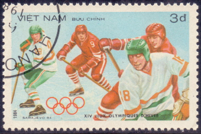 1984 Winter Olympics Ice Hockey Stamp from Vietnam