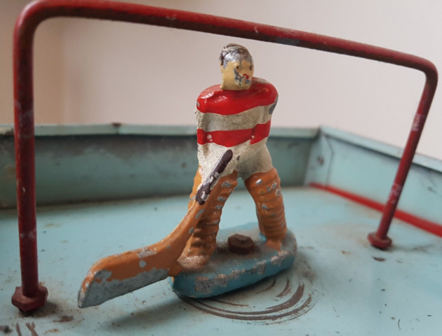 Antique Table Top Hockey Player - Red & White