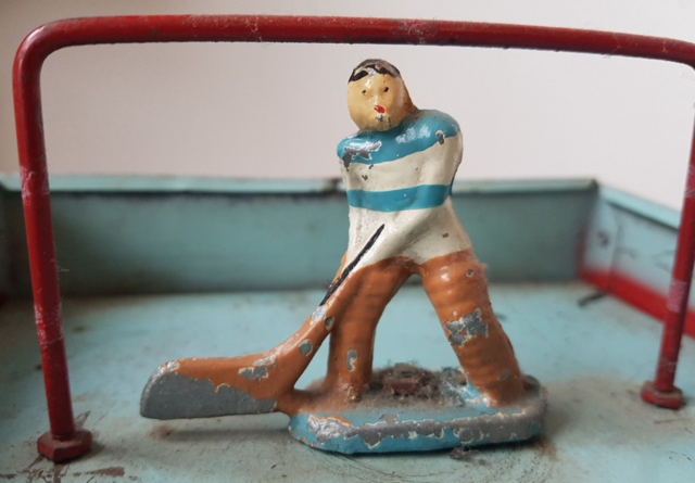 Antique Table Top Hockey Player - Blue & White