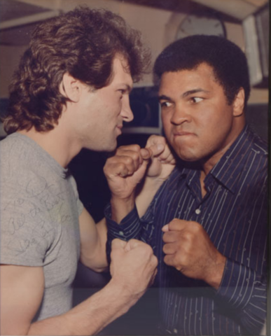 Dave Semenko and Muhammad Ali promo photo for the June 12th 1983 3-Round Bout