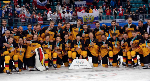 Germany Men's National Ice Hockey Team 2018 Winter Olympics Silver Medal Winners