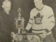 Harry Lumley accepting the Vezina Trophy & Plaque from Clarence Campbell 1954