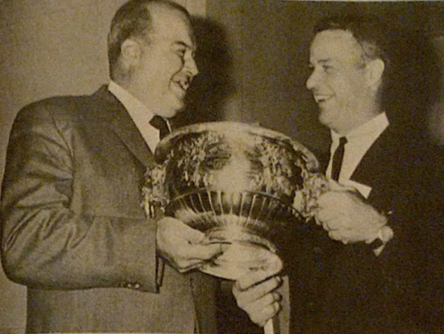 Gordie Drillon and Gordie Howe admire The Art Ross Trophy in 1963