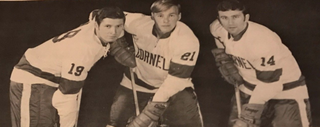 Dick Bertrand, John Hughes & Daniel Lodboa of Cornell Big Red Hockey Team 1969
