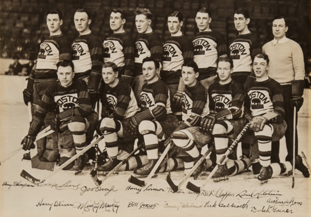 Boston Bruins Team Photo 1930 Autographed
