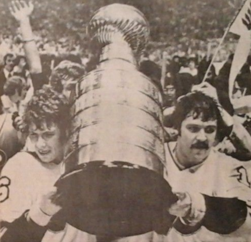 Bobby Clarke & Bernie Parent Hoist The Stanley Cup 1974 Philadelphia Flyers