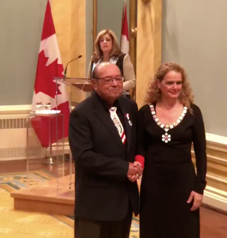 Fred Sasakamoose received Order of Canada from Governor General Julie Payette