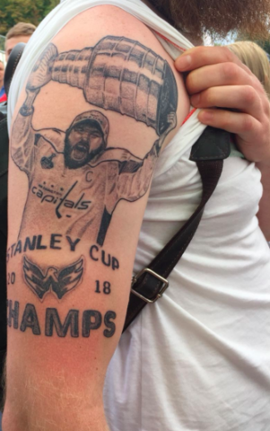 Alex Ovechkin Tattoo Hoisting The Stanley Cup 2018 Washington Capitals Tattoo
