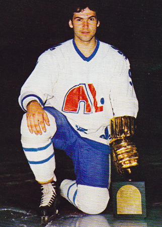 Réal Cloutier 1977 Quebec Nordiques with the WHA William D. Hunter Trophy