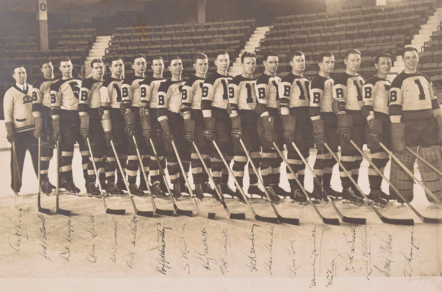 Boston Bruins Team Photo 1936 - Autographed