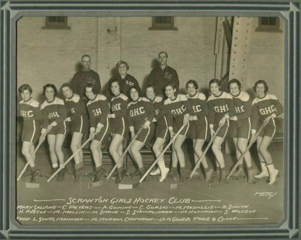 Scranton Girls Hockey Club 1930s Roller Hockey