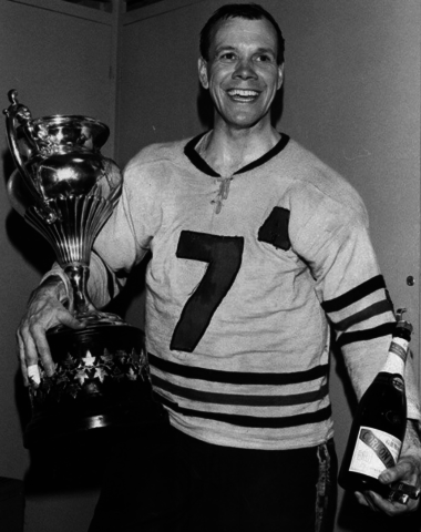 Gordie Haworth with the Allan Cup 1967 Drummondville Eagles