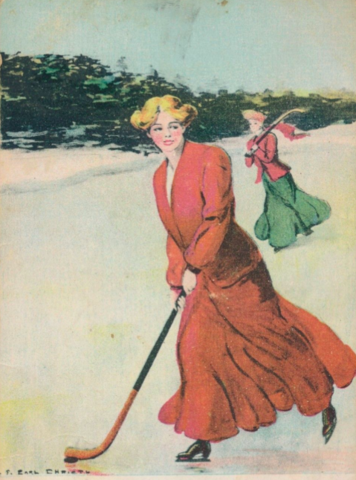 F. Earl Christy Hockey Postcard 1905 College Girl Postcards