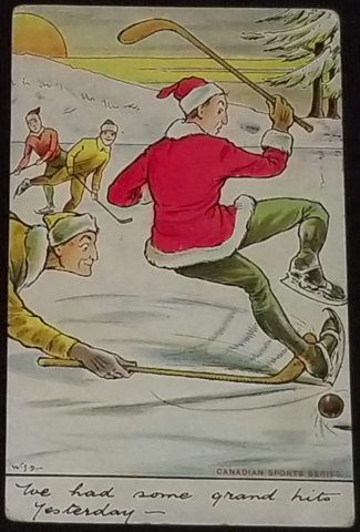 Antique Hockey Christmas Card - Grand Hits