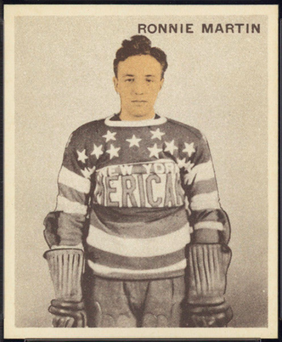 Ronnie Martin Hockey Card 1933 Ice Kings World Wide Gum No. 7