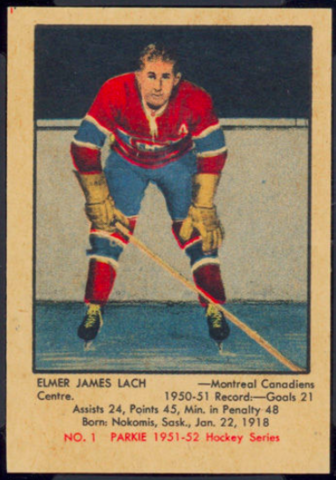 Elmer James Lach Hockey Card 1951 No. 1 Parkie