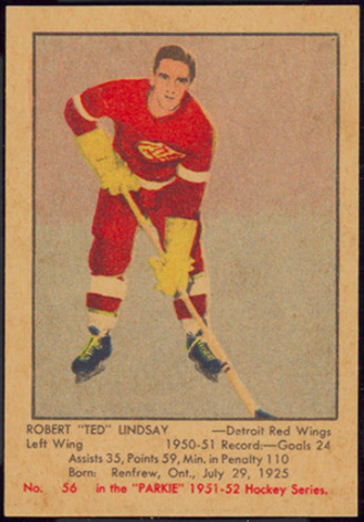 "Robert ""Ted"" Lindsay Hockey Card 1951 No. 56 Parkie"