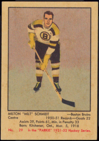 "Milton ""Milt"" Schmidt Hockey Card 1951 Parkie No. 29"
