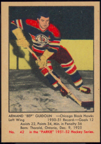 "Armand ""Bep"" Guidolin Hockey Card 1951 Parkie No. 42"