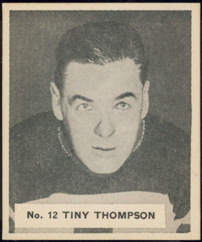 Tiny Thompson Hockey Card 1937 V356 World Wide Gum No. 12