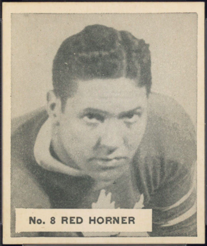 Red Horner Hockey Card 1937 V356 World Wide Gum No. 8