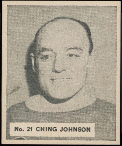 Ching Johnson Hockey Card 1937 V356 World Wide Gum No. 21
