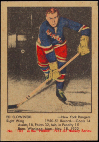 Ed Slowinski Hockey Card 1951 Parkie No. 102