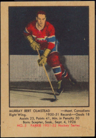 Bert Olmstead Hockey Card 1951 Parkie No. 5