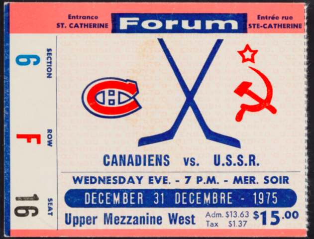 Montreal Canadiens vs Soviet Red Army Hockey Ticket December 31, 1975