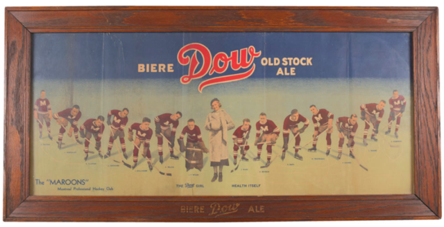 Dow Old Stock Ale Picture with 1933 Montreal Maroons and The Dow Girl