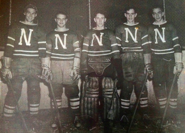 Hughie Scott, Bev Bentley, Jack Prestley, Angie Defelice 1946 Nanaimo Clippers