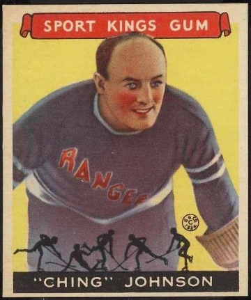 """Ching"" Johnson Hockey Card 1933 Sport Kings Gum No. 30 Goudy Gum Co."