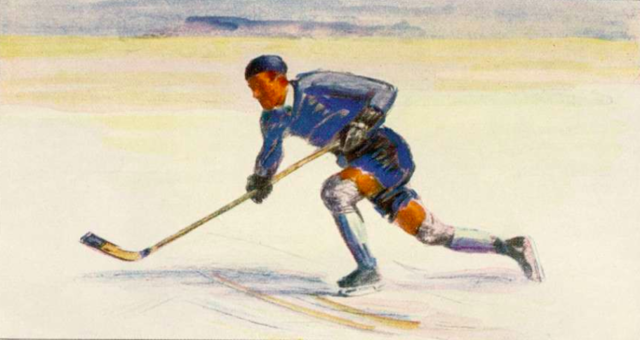 German Ice Hockey Art 1934 Deutsche EisHockey Kunst / die Malerei