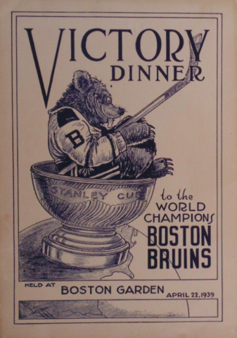 Boston Bruins 1939 Stanley Cup Victory Dinner Program Cover