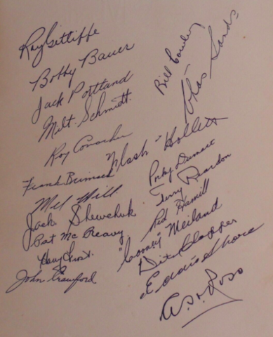 Boston Bruins 1939 Team Autographs