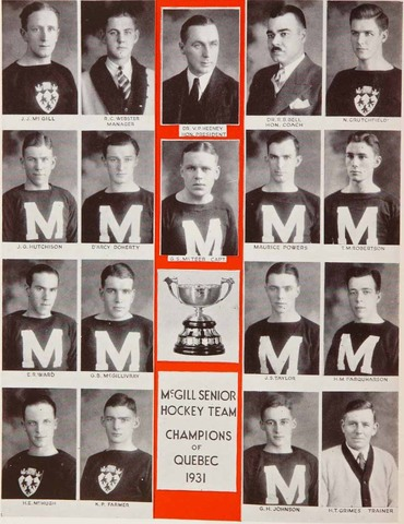 McGill Redmen 1931 Queen's Cup Champions as Canadian Intercollegiate Champions