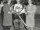 Glenn Hall receives the 1955 Edmonton Flyers team MVP award.