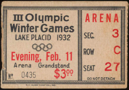 Olympic Winter Games Hockey Ticket 1932 Winter Olympics in Lake Placid