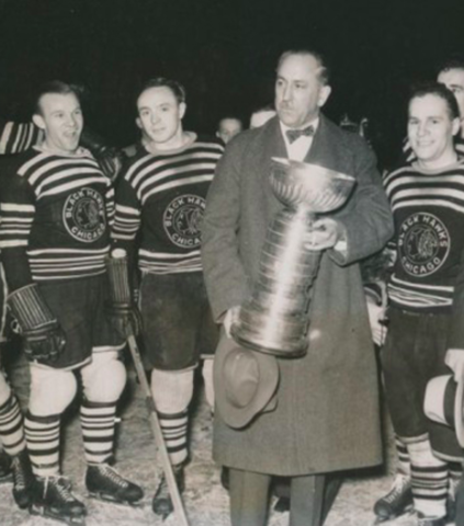 Chicago Black Hawks owner Major Frederick McLaughlin with the 1934 Stanley Cup