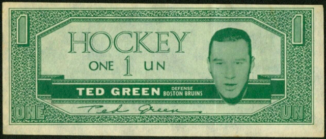 Ted Green Hockey Money 1962 Topps Hockey Bucks