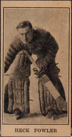 Heck Fowler Hockey Card 1928 V128-2 Paulin's Candy Hockey Card #87