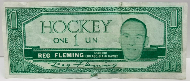Reg Fleming Hockey Money 1962 Topps Hockey Bucks