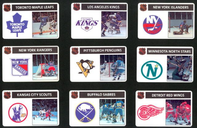 Popsicle NHL Team Cards 1976