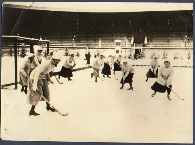 Sy Seidman Photograph of Women Playing Field Hockey on Ice Skates 1920s