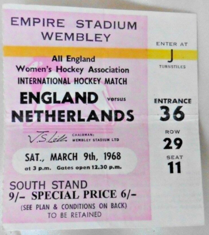 Vintage Hockey Ticket 1968 England vs Netherlands at Empire Wembley Stadium