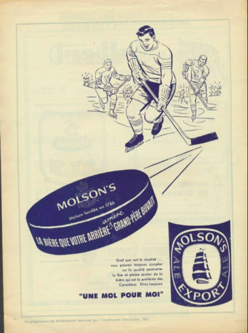 Vintage Molson's Export Beer Hockey Ad 1950s