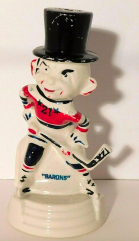 Cleveland Barons Hockey Player Piggy Bank 1950s
