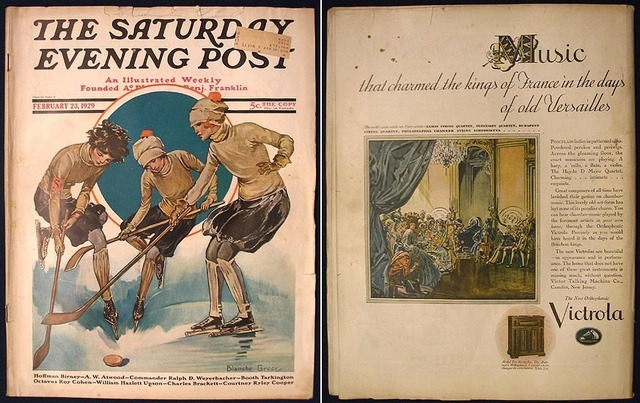 The Saturday Evening Post 1929 Ice Hockey Girls on the cover
